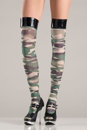 CAMOUFLAGE STOCKINGS WITH VINYL TOPS