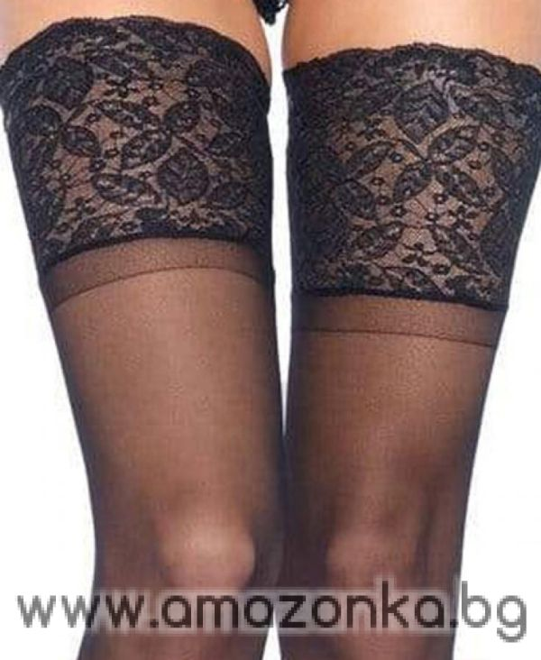 Leg Avenue, Spandex sheer thigh highs silicone stay up lace top
