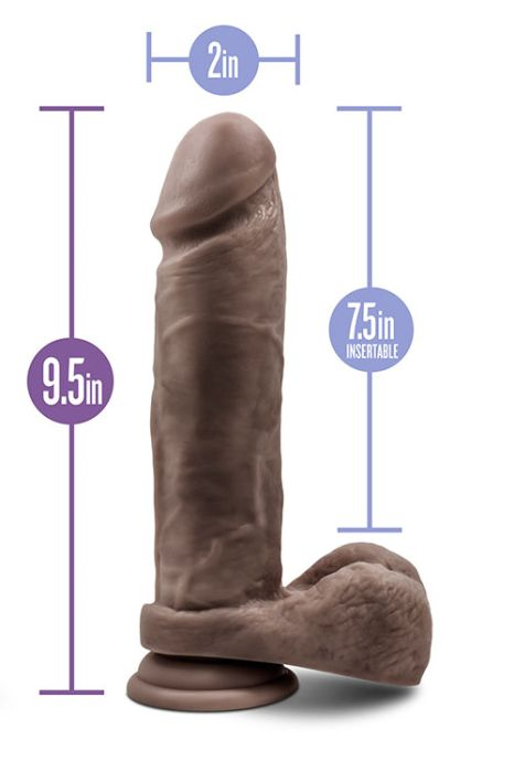 AU NATUREL 9.5INCH DILDO CHOCOLATE