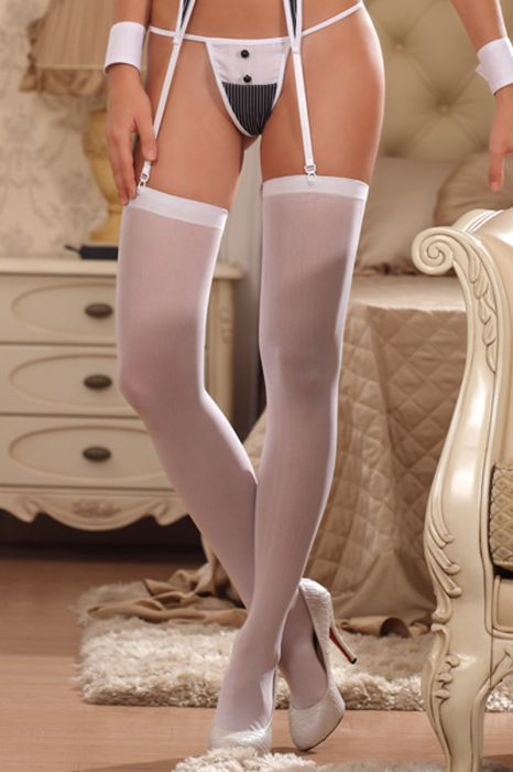 Ladies sheer stocking over knee white