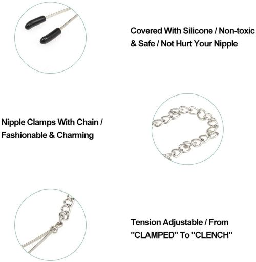 Fantasy Nipple Clamps Clitoris Clamps Labia Clamps with Metal Chain,Ideal for Adult Games Role Play Erotic Toys