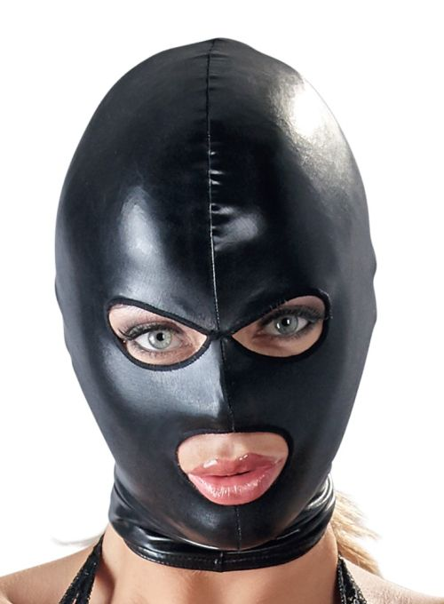 Tight-fitting mask made out of very shiny black wetlook.