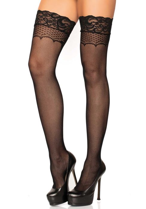 Leg Avenue Stay up lace top micro net thigh highs bow back seam