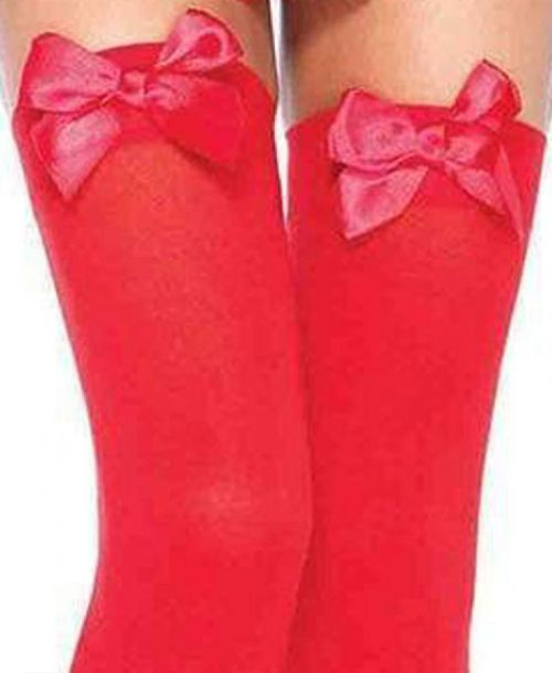 Leg Avenue, Opaque thigh highs with satin bow accent. stockings RED Leg Avenue