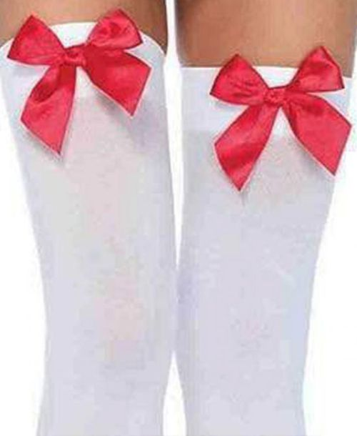Leg Avenue, Opaque thigh highs with satin bow accent. stockings. WHITE/RED