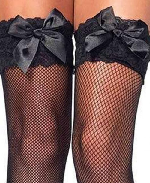 Leg Avenue, Spandex fishnet thigh highs lace top and satin bow BLACK
