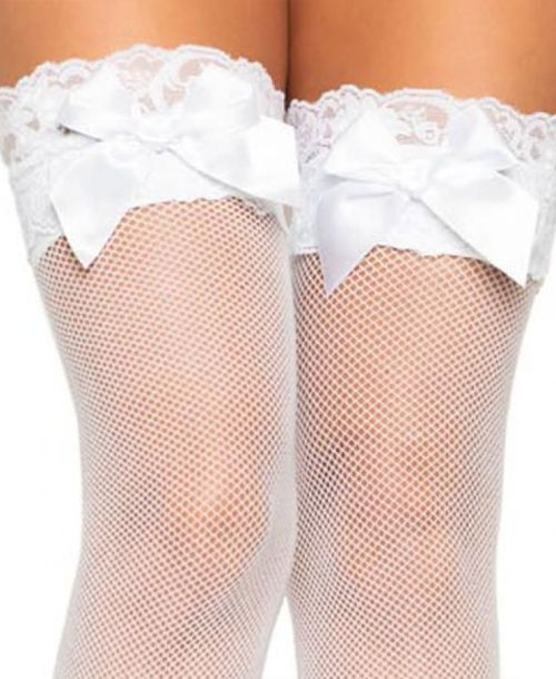 Leg Avenue, Spandex fishnet thigh highs lace top and satin bow.WHITE