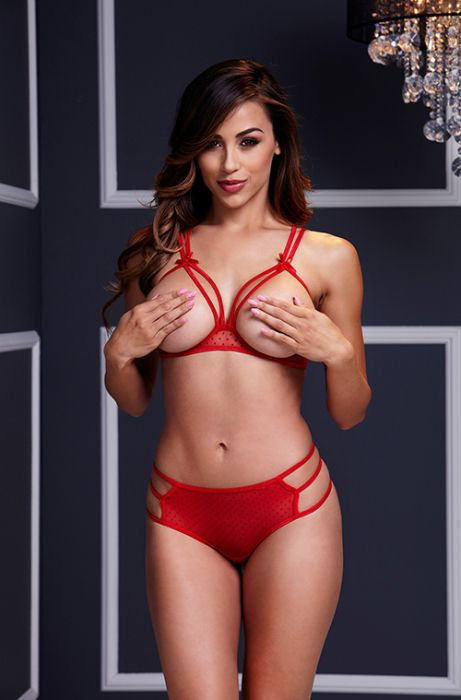STRAPPY OPEN CUP BRA SET W PANTY, RED
